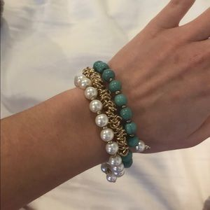gold/turquoise and pearl twist bracelet